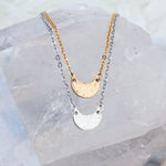 Crescent moon choker necklace in sterling silver or gold fill