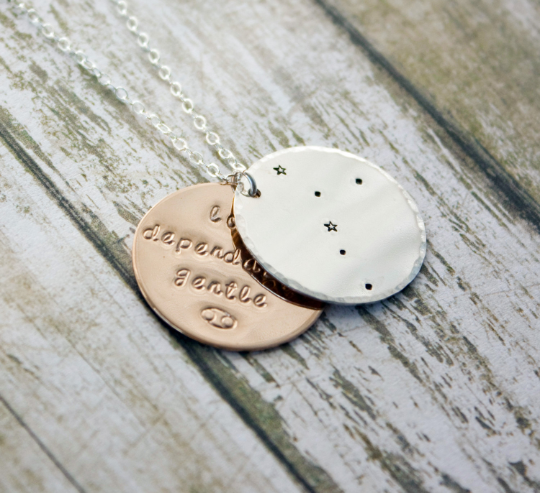 Cancer zodiac constellation necklace with traits in sterling silver and gold
