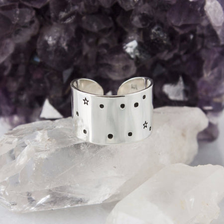 Breathe // Aluminum cuff ring with lotus and hamsa