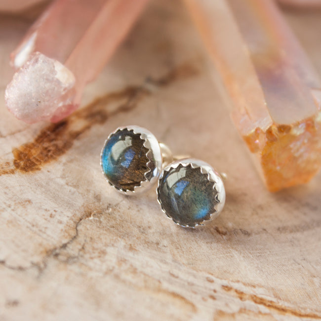 Labradorite sterling silver stud earrings, goddess earrings