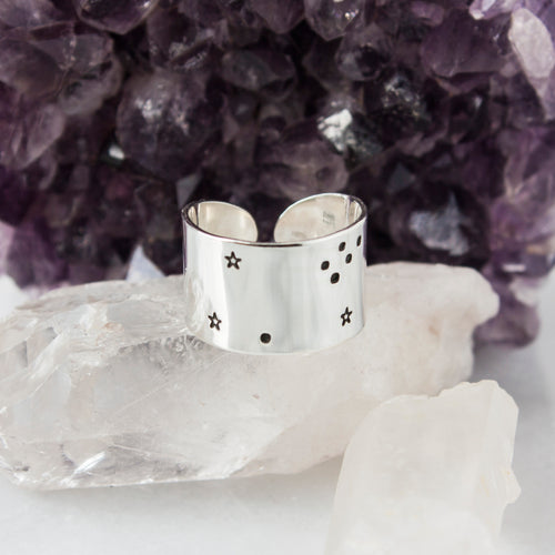 Leo zodiac constellation ring in Sterling silver or Aluminum