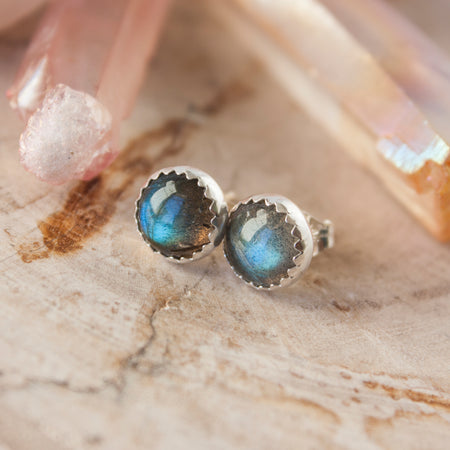 Gold Rainbow Moonstone stud earrings