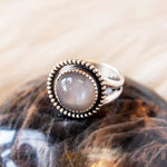 Grey Moonstone New Moon Ring in Sterling Silver