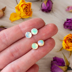 Opal stud earrings in sterling silver or 14k gold fill