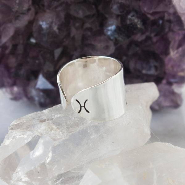 Pisces zodiac constellation ring in Sterling silver or Aluminum