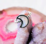 Rainbow Moonstone Crescent Moon ring