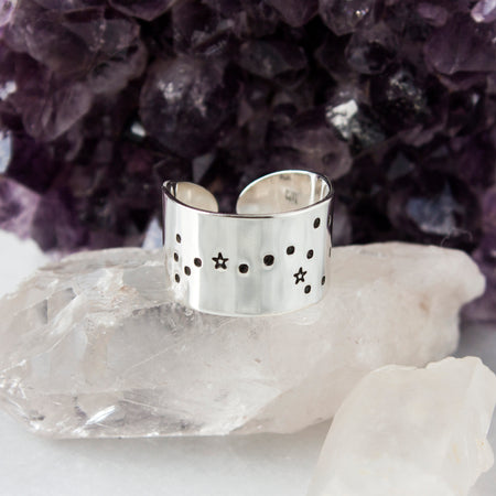 Crown Chakra ring with hidden mantra in sterling silver