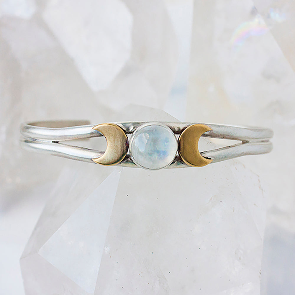 Triple Goddess Rainbow Moonstone Cuff Bracelet in Sterling Silver