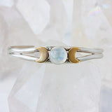 Rainbow Moonstone Triple Goddess cuff in sterling silver and brass