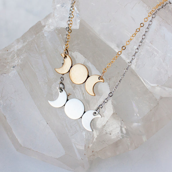 Triple Goddess necklace in sterling silver or 14k gold fill and brass