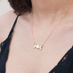 Triple Goddess Moon necklace in sterling silver or 14k gold fill and brass