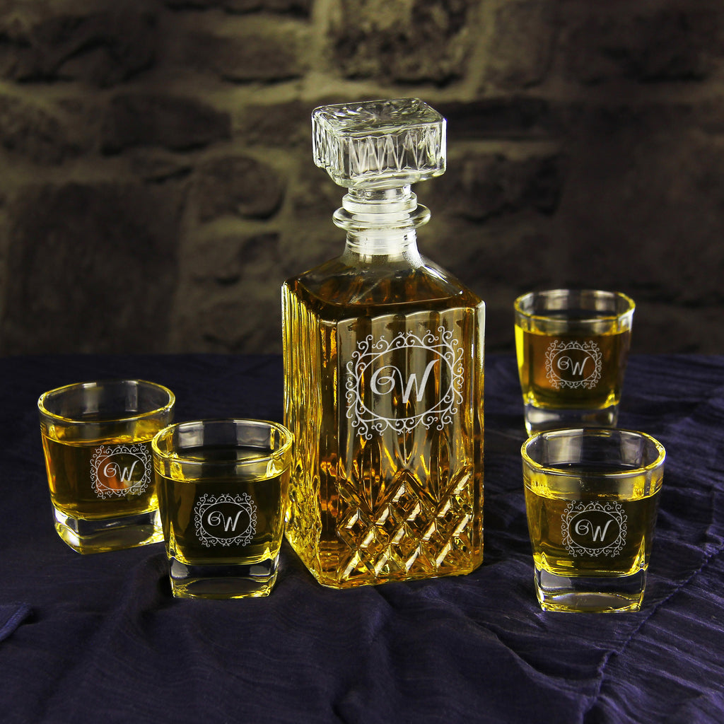 Personalized Whiskey Decanter Set Groomsmen Gifts Uniqueweddinggifts