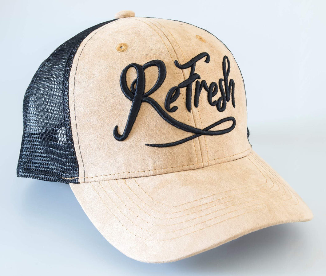 Tan Mesh Trucker Cap