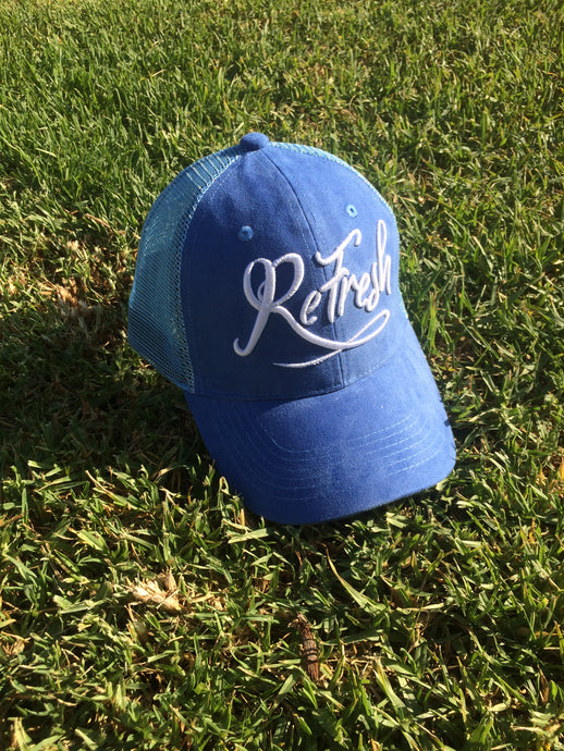 Blue Mesh Trucker Cap
