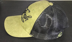 Khaki Green/Black Suede Trucker Cap