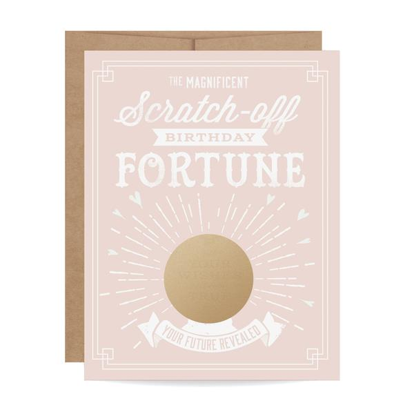 Pink Birthday Fortune Scratch Off Card