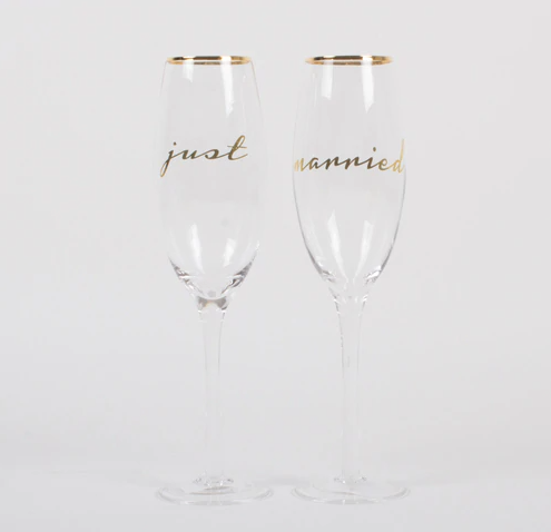 Just Married Champagne Glass Set