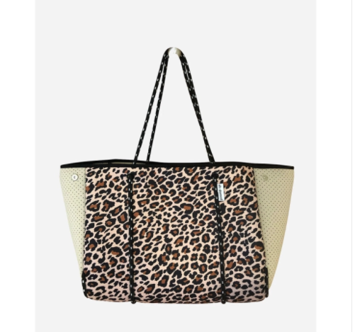 Leopard Neoprene Tote With Perforated Sides