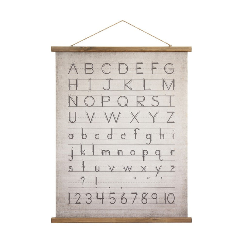 Alphabet & Number Wood & Canvas Scroll