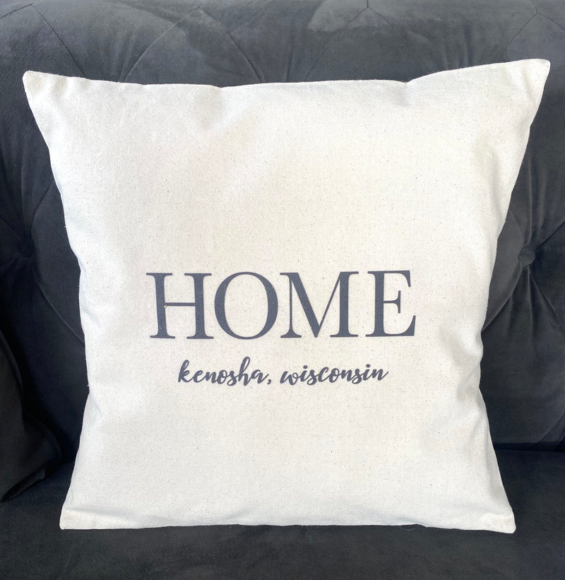 Kenosha, WI - Cotton Canvas Pillow