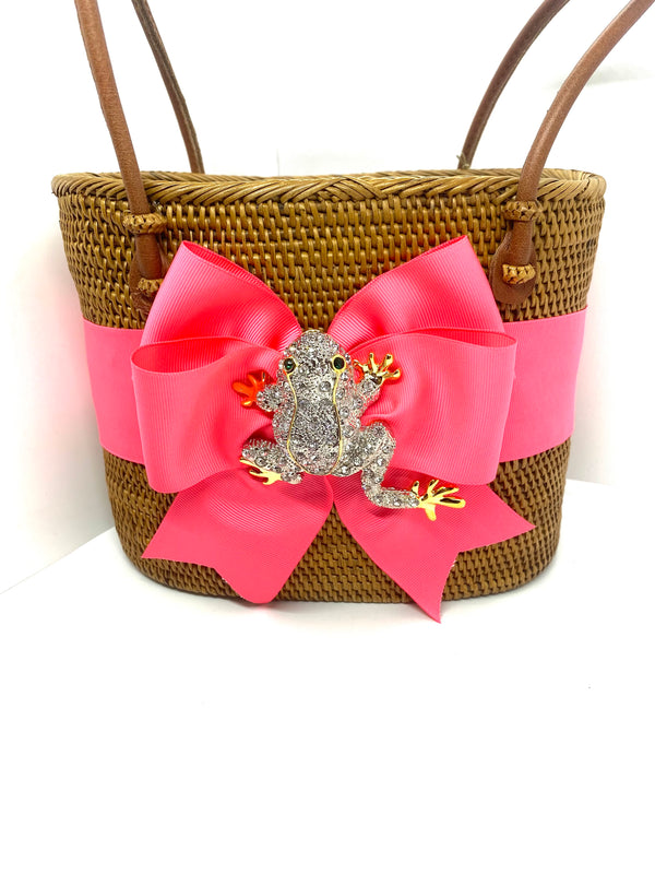Charlotte Medium Purse - Hot Pink with Frog