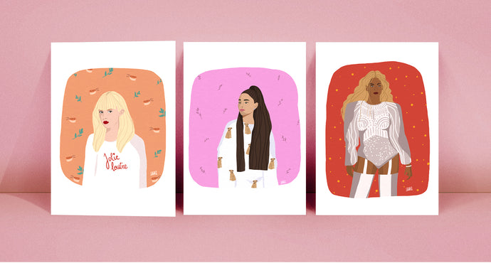 Illustration Angèle, Ariana Grande et Beyonce