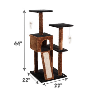 Cat Tree with Scratching Posts - Dark Brown/Blue