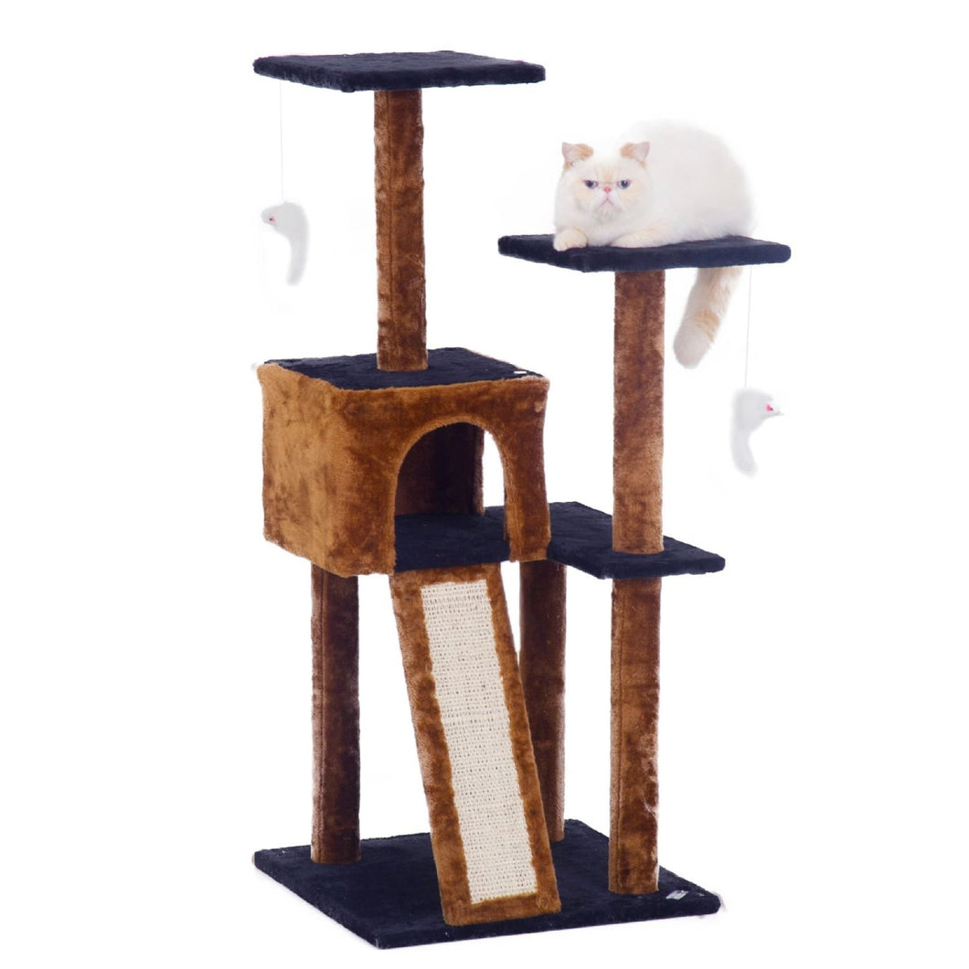 Cat Tree with Scratching Posts-Dark Brown/Blue
