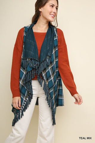 Vest Teal Plaid