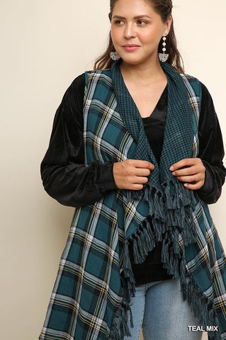 Vest Teal Mix Plaid