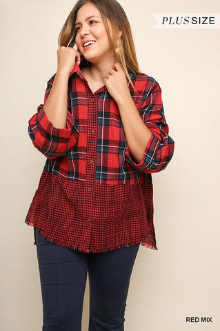 Top Red Mix Plaid Button Up