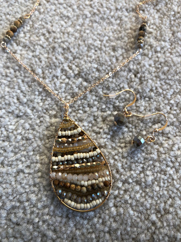 Necklace Brown Natural Stone and Crystal Wire Wrap Tear Drop