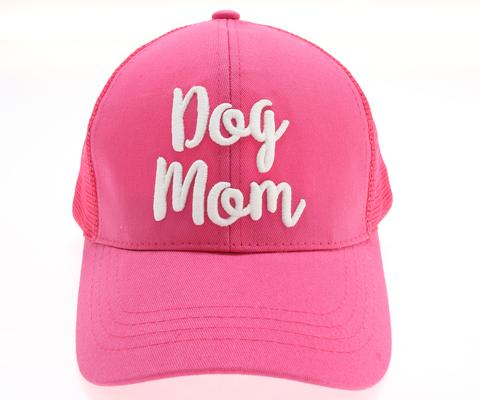 Cap Dog Mom Embroidered Mesh Back High Ponytail Pink