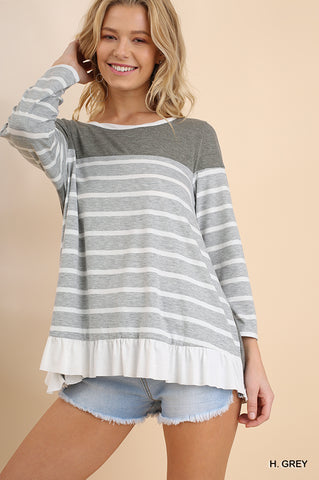 Top Striped Long Sleeve Ruffled