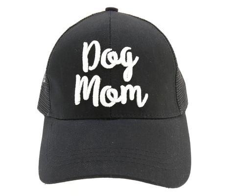 Cap Dog Mom Embroidered Mesh Back High Ponytail Black