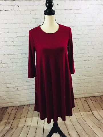 Dress Solid Knit Burgandy