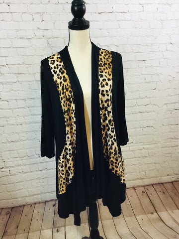 Cardigan Black w/Leopard Trim