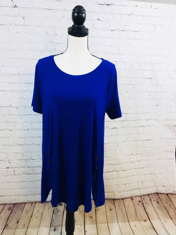 Top Royal Blue with Button Detail