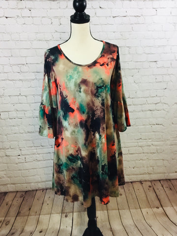 Dress Multi Color w/Bell Sleeve