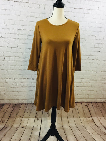 Dress Solid Knit Mustard