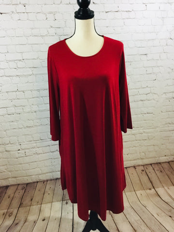 Dress Solid Knit Cranberry