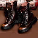 "The ""Achilles Heel"" Genuine Leather Skull Combat Boots - Spring/Autumn"