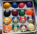 Skull Carved Billiard Ball Set