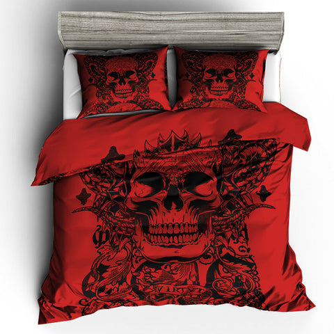 """Blood Red"" Skull Duvet Cover Set"