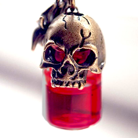 Red Skull Bottle Necklace - skullpixie.com