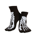 """Boney"" Skeleton Toe Socks - black on feet"