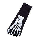 """Boney"" Skeleton Toe Socks - black"