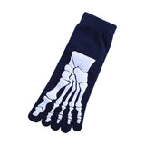"""Boney"" Skeleton Toe Socks - blue"