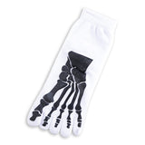 """Boney"" Skeleton Toe Socks - white"