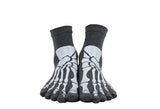 """Boney"" Skeleton Toe Socks - grey on feet"